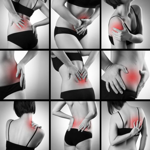 39099887 - pain in a woman's body on gray background. collage of several photos